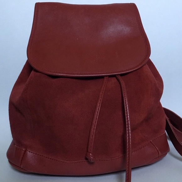 L.L. Bean Handbags - L.L. Bean Vtg Suede/ Leather Drawstring Backpack